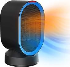 VIY Calefactor de bajo consumo, elemento calefactor cerámico PTC, radiador de habitación, 600 W, oscilación de 65° y protección contra sobrecalentamiento y vuelco, para casa, oficina, baño (azul)