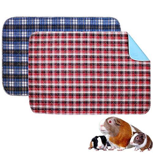 Oncpcare Paquete de 2 forros de forro polar para cobayas, lavables a prueba de fugas, almohadillas para orinar de animales pequeños, reutilizables e impermeables