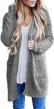 iNoDoZ Women Casual Cardigan Sweater Solid Winter Warm Wool Pockets Coat Long Sleeve Outwear