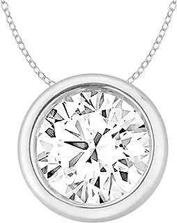 14k Gold Round Diamond Solitaire Pendant Necklace Bezel Set Women (0.30cttw, IJ/I2-I3) 18