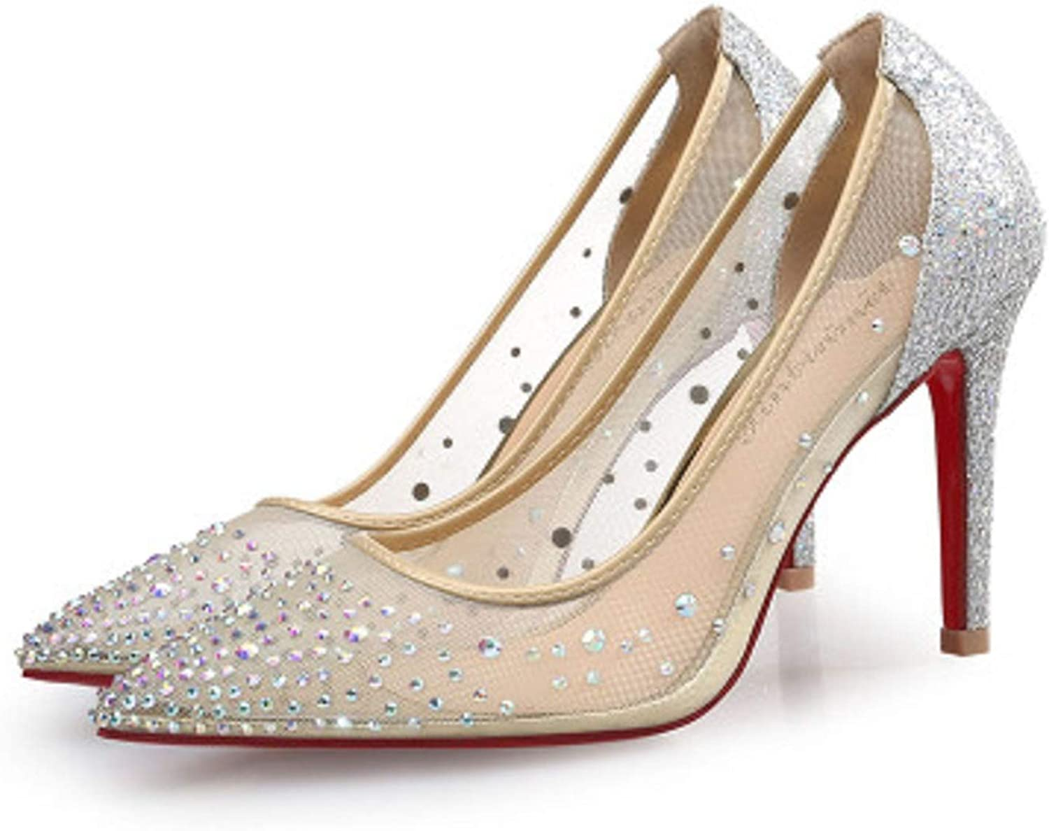 Mao YiE New Silver Flash Design Ladies High Heels Summer RhinestoneParty Wedding Dress