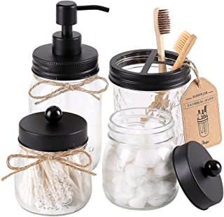 Elwiya Mason Jar Bathroom Accessories Set - Includes Mason Jar Hand Soap Dispenser & Qtip Holder Set - Rustic Farmhouse Decor Apothecary Jars Bathroom Countertop and Vanity Organizer