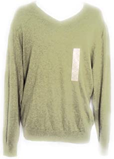 Mens Burnt Olive Heather V-Neck Sweater