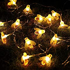 Great Decoration String Lights for holiday,party, DIY Project, nightlights,indoor and outdoor 20 Honeybee Shaped LED lights, 3M/10Ft. Bee-au-tiful: Very cute honeybee LED lights decorate your gardens, patio, gate, yard, wedding, party lovely and excl...