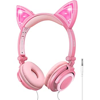 LOBKIN Foldable Wired Over Ear Kids Headphone with Glowing LED Blinking Light for Girls Children Cosplay Fans for Online Class,Cat EarHeadphones (Peach)
