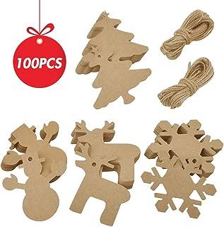 100 PCS Christmas Kraft Paper Tags Gift Tags Snowman, Snowflake, Reindeer and Christmas Tree Design for Christmas Gift,DIY and Wedding