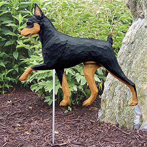 Miniature Pinscher Outdoor Garden Dog Sign Hand Painted Figure Black/Tan