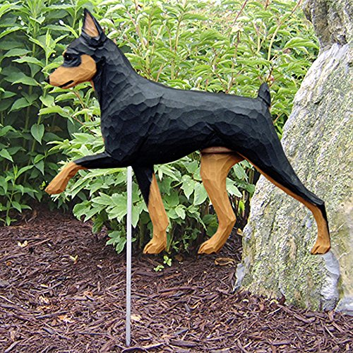 Miniature Pinscher Outdoor Garden Dog Sign Hand Painted Figure Black/Tan