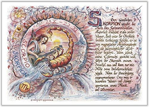 Die Staffelei Geschenk Karte Sternzeichen Skorpion Zeichnung mit Gedicht, 20 x 15 cm