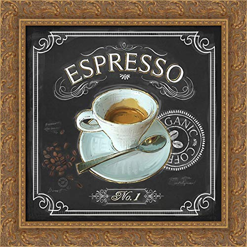 Barrett, Chad 20x20 Gold Ornate Framed Canvas Art Print Titled: Coffee House Espresso