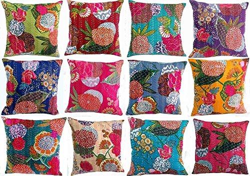 Arredamento indiano, indiano, cuscino divano boho chic Bohemien cuscino copricuscini divano cuscini cuscino divano boho Pillow Handmade federa di cotone kantha cuscino (set da 10pezzi)