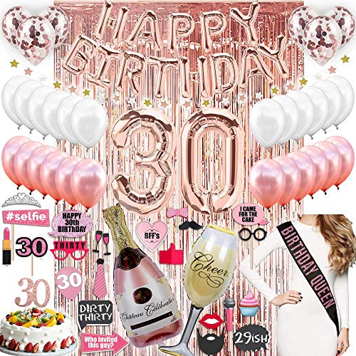 30th BIRTHDAY DECORATIONS| with Photo Props 30 Birthday Party Supplies| 30 Cake Topper Rose Gold| Banner| Rose Gold Confetti Balloons for her| Dirty Thirty| Silver Curtain Backdrop Props 30th Bday
