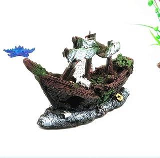 WSJTT Sunken Wreck Fishing Aquarium Decor- امنح مظهرًا ريفي وقديمًا لخزان المياه الخاص بك منظر الجبال لحوض السمك المناظر ا...