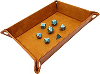 Haxtec DND Dice Tray PU Leather Storage Tray for RPG Dice Games and Accessories (Grey White)