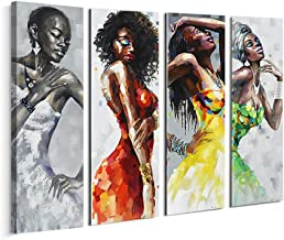Artinme Framed African American Black Art Dancing Black Women in Dress Wall Art Painting on Canvas Print Wall Picture for Home Accent Living Room Wall Decor (12 x 36 inch, Set of DEFJ)