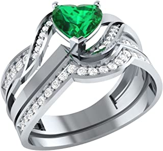 Demira Jewels Heart Shape Engagement Wedding Ring Set in Solid 925 Silver W/Diamond Accent and Simulated Emerald