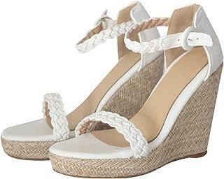 68de8eac Moda Retro para Mujer Punta Abierta Tobillo cuña Pisos Zapatos Hebilla- Correa de Sandalias Romanas