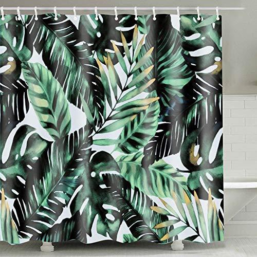 ETH donkergroene banaan blad patroon badkamer bad douche gordijn creatieve digitale afdrukken 90G polyester stof waterdichte douche gordijn machine wasbaar 180 * 180cm duurzaam