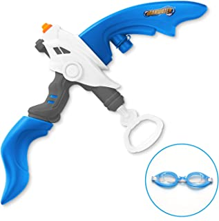 SainSmart Jr. Kids Squirt Water Gun Bow and Arrow Toy with Swimming Goggle, Summer Outdoor Water Blaster Games Archery Set with Capacity 800CC for 3 Years Old, Blue