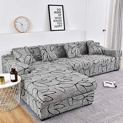 WXQY La Funda de sofá Impresa se estira elásticamente, es Necesario Pedir 2 Piezas de sofá en Forma de L. Funda para sofá de salón A20 1 Plaza