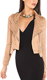 Women's Causal Suede Lightweight Soft Zip Up Moto Biker Jacket