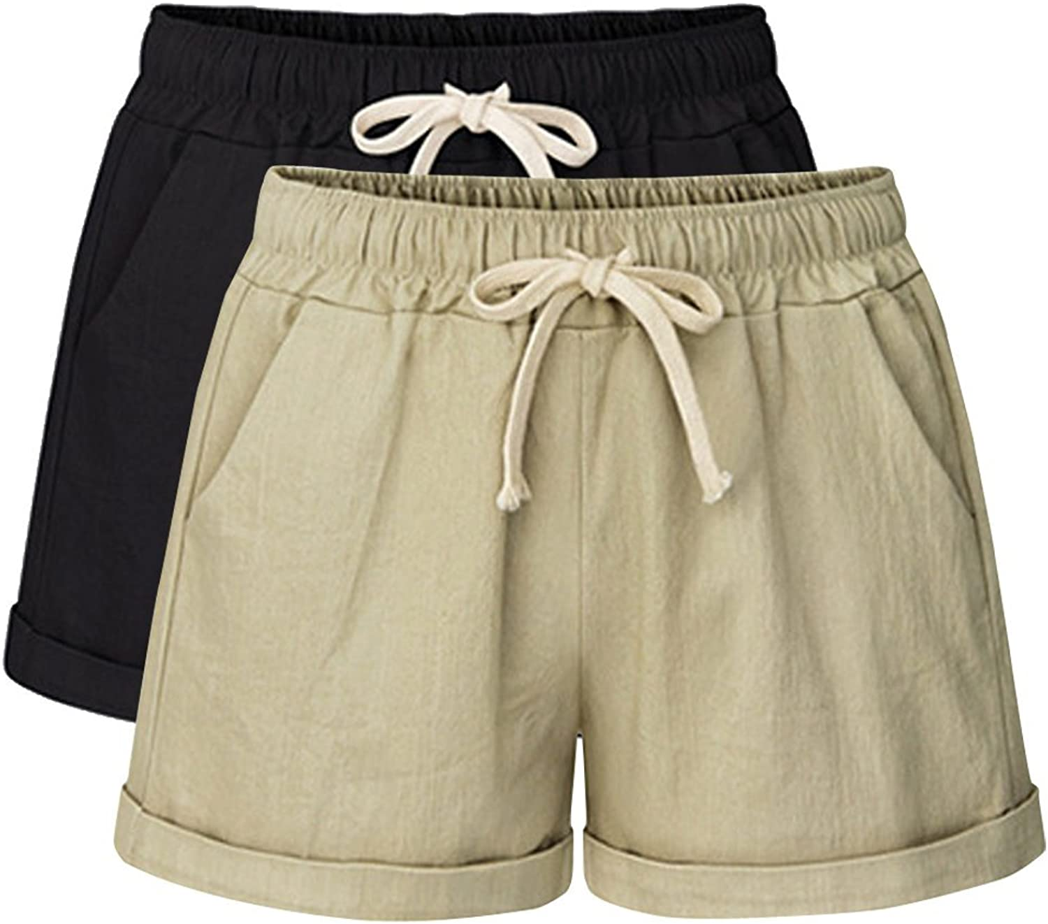 Gooket Women's Elastic Waist Cotton Linen Casual Beach Shorts with Drawstring 2 Pack Black+Khaki Tag 6XLUS 20