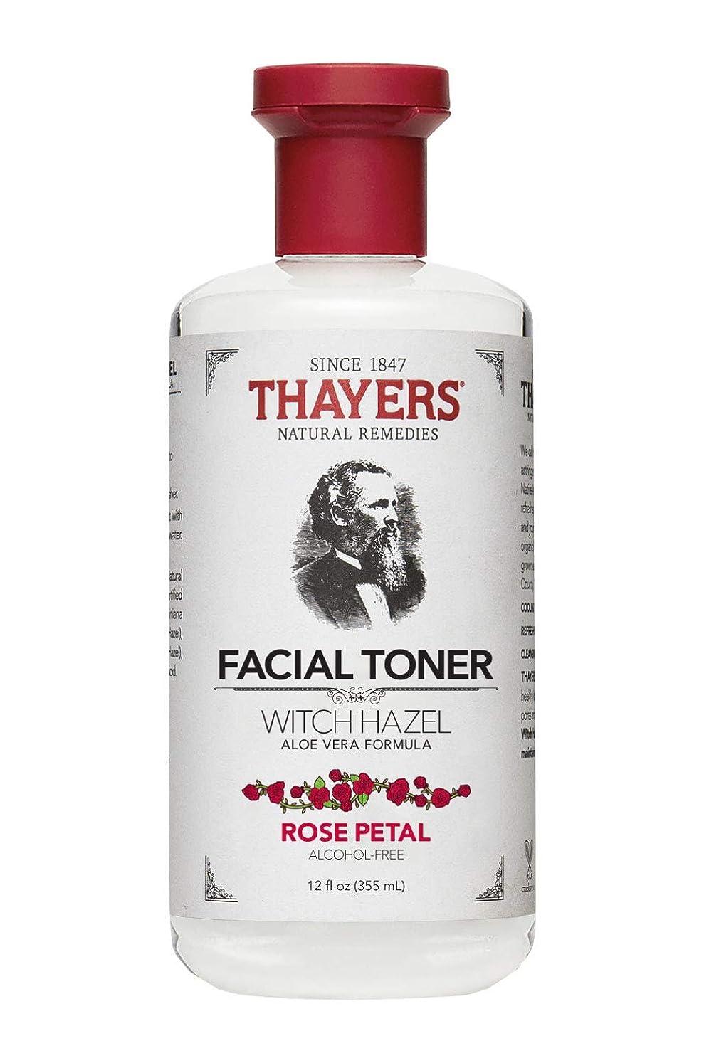 ガチョウ歪める反毒Thayers? Rose Petal Witch Hazel Alcohol Free Toner with Organic Aloe Vera 355ml
