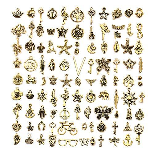 WXLAA 100pz Ciondoli Pendenti Misti Fai da Te in Lega Oro Braccialetti Collana Orecchini Creazione di Gioielli