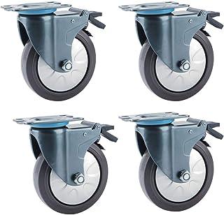 Metalen plaat zwenkwielen Set van 4 Rubber Base Trolley Swivel Caster, Dual Locking, Geen Noise Wheel, Royal Blue -Roest C...