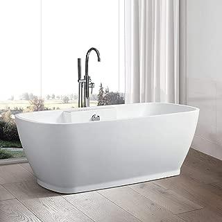 Vanity Art 67 Inch Freestanding Acrylic Bathtub   Modern Stand Alone Soaking Tub with Chrome Finish, UPC Certified, Round Overflow & Pop-up Drain - VA6835-L