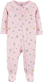 Macacão Pijama Carter's Mini Flores Rosa Algodão Bebê Menina com Zíper e Pezinho