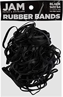 JAM PAPER Durable Rubber Bands - Size 64 - Black Multi-Purpose Rubberbands - 100/Pack