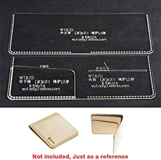 WUTA Leather Craft Wallet Template Acrylic Clear Cutting Tools Pattern Set Model for Easy to DIY Making Short Wallet Purse WT875