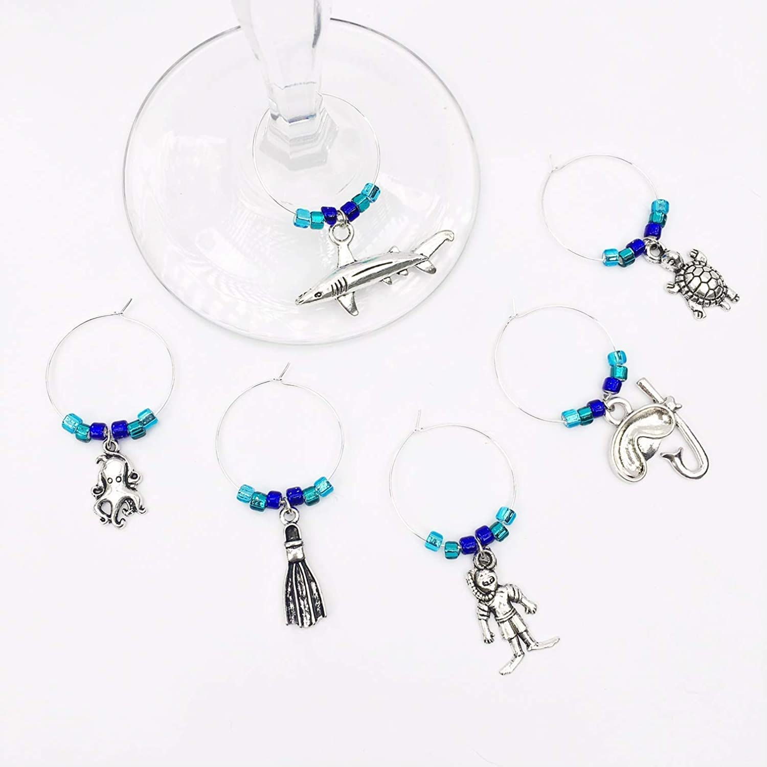 Scuba Wine Charms ~ Set Silver 6 of Gi Glass Fixed price for Max 61% OFF sale