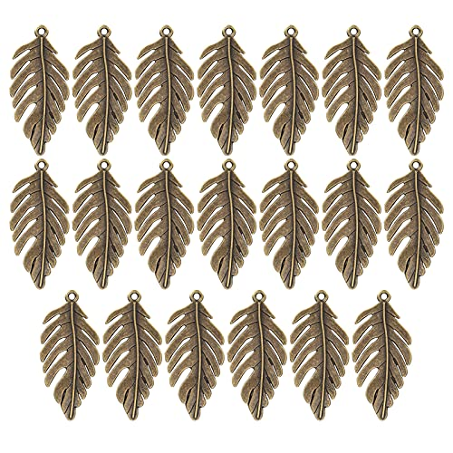 Agatige 20Pcs Bronze Leaf Charms, Jewelry Accessories Alloy Pendant for DIY Earring Bracelet Necklace Jewelry Making Handicraft Decoration 2146mm