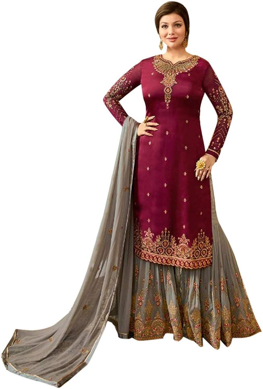 Bridal Wedding purple Grey Heavy Embroidery Muslim Sharara Suit Indian Ethnic Salwar Kameez 7260