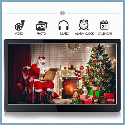 """12"""" LCD Digital Picture Frame High Resolution IPS 1920 x 1080 Slim Metal Multifunctional Desktop Digital Photo Frame with MP3 MP4 E-Book Calendar Clock Function with Remote Controller-Black Materials Presentation Storage"""