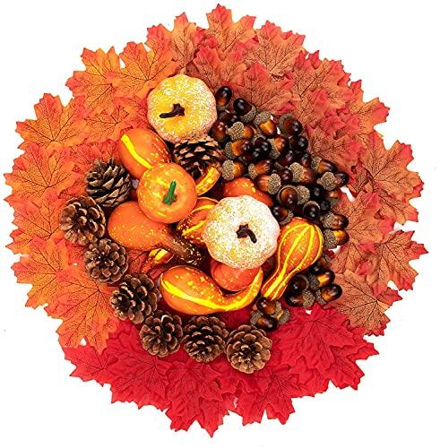 Richaa 166 PCS Halloween Artificial Calabaza Arce Hojas Conos de Pino Bellotas Set, Decoración de otoño de Calabazas Falsas para Acción de Gracias, Cosecha, Boda, Decoraciones de Mesa para el hogar