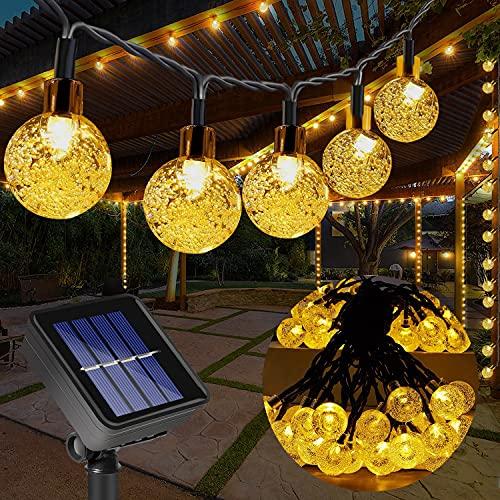 Guirnalda Luces Exterior Solar, 100LED 10m Cadena de Luces bolas led decorativas, IP65 Impermeable 8 Modos Luces Solares Jardin,Guirnaldas Luminosas para Interior, Fiesta de Navidad (Blanco cá