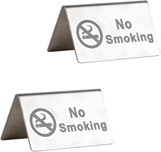 No Smoking Sign - Brushed Stainless Steel Free Standing Table Top Tent Compliance Signs - Double Sided - 4 by 2.5 Inch - Set of 2