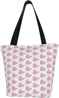 Lesif Einkaufstaschen, rosa Narwals, Segeltuch, Schultertasche, wiederverwendbar, faltbar, Reisetasche, groß und langlebig, robuste Einkaufstaschen
