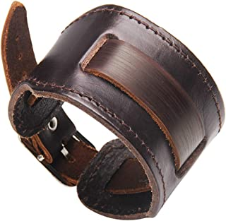 AZORA Mens Punk Leather Cuff Bracelet Handmade Braided Wide Bangle Bracelets Rock Leather Wristband Jewelry for Men Teen B...