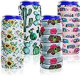 Ertisa Enfriador de latas, Paquete de 4 Fundas para latas de Cerveza Delgada Funda de Botella de Neopreno Suave Enfriadores de Cerveza Fundas Coolies Se Adapta a 12 oz de Bebida energética Latas