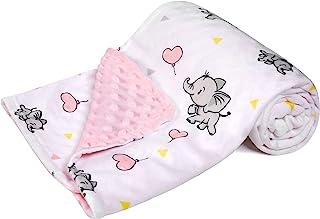 پتوی کودک DaysU Minky ، ابریشمی نرم میکرو پشم گوسفند با پشت خال خال ، پتو پرتاب حیوانات دخترانه ، فیل ، صورتی ، 30x40 اینچ