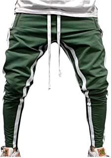 Mogogo Mens Simple Assorted Colors Closed-Bottom Drawstring Tracksuit Bottoms