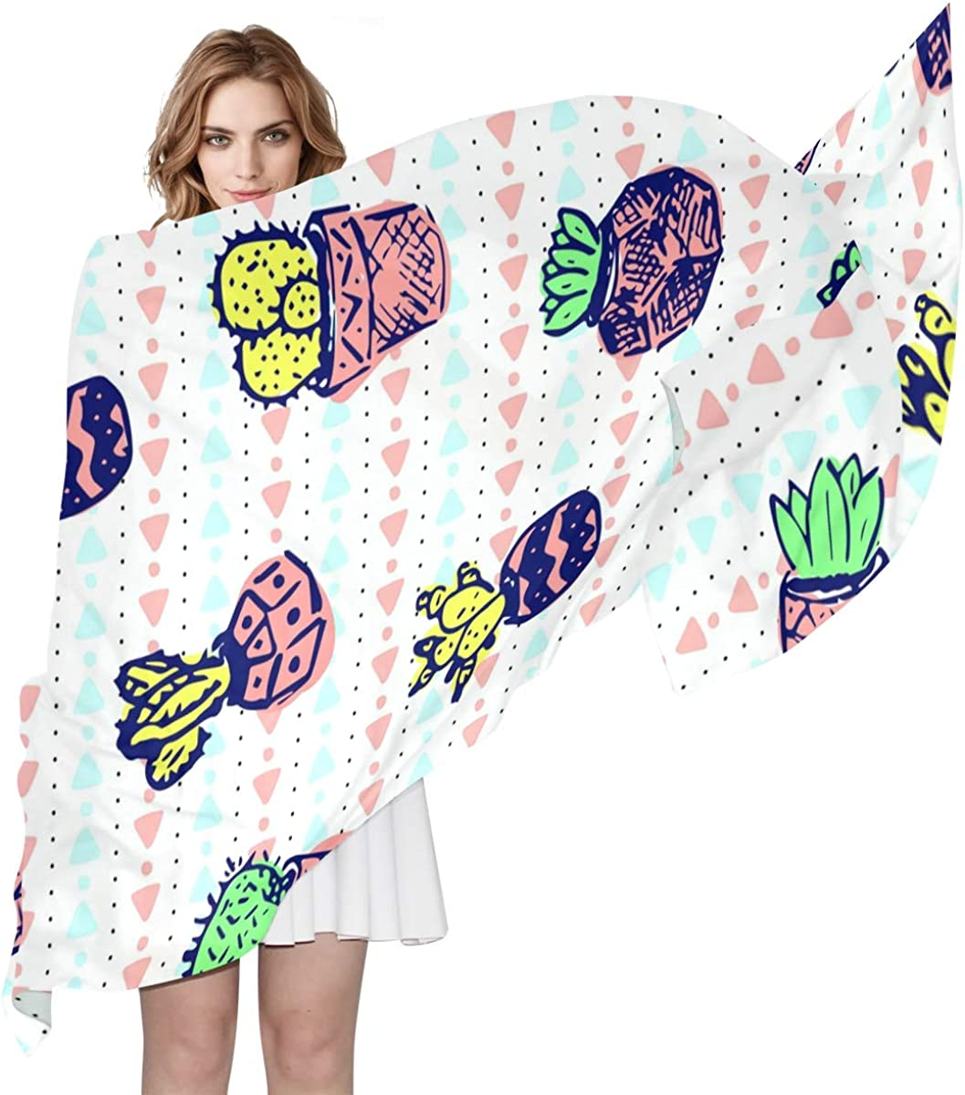 XLING Fashion Scarf Geometric Abstract Cactus Pattern Long Lightweight Sunscreen Scarf Shawl Wrap Muffler Neckerchief for Women Men
