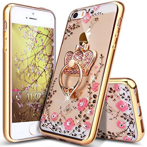 Cover iPhone 5S 5 SE,ikasus Placcatura modello fiore Lucido cristallo glitter diamante Trasparente Morbida TPU Silicone Gel Custodia Case Cover per iPhone 5S 5 SE,Fiori oro rosa strass corona
