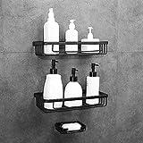 Gricol Duschregal Kein Bohren Raum Aluminium Rechteckig Rostfrei Selbstklebende Körbe mit Schwamm Seifenschale für Bad und Küche 2 Stück (Schwarz)
