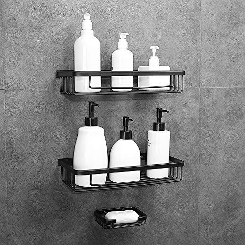 senza foratura triangolo adesivo da parete cestino portaoggetti da doccia antiruggine per doccia e cucina Mensola angolare per doccia da bagno 2 pezzi colore: bianco in alluminio