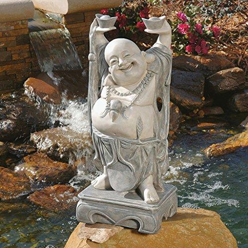 Design Toscano KY356 Jolly Hotei Laughing Buddha Asian Decor Garden Statue, 25 Inch, Two Tone Stone